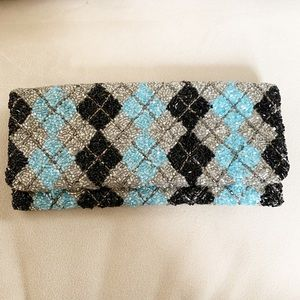 Moyna beaded black blue silver everything clutch
